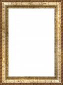 Antique wooden vertical frame with guilded pattern
