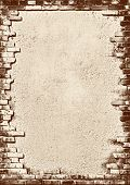 Plaster background with brick wall framing Vintage stylized