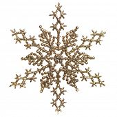 Shiny golden snowflake ornament Christmas tree decoration isolated on white background