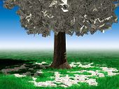 Money tree with hundred dollar bills growing on it and lying on green grass under it. Investment concept