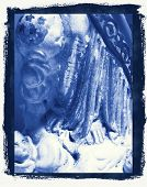 photographic reproduction cyanotype Delft Blue Mary Statue (detail)