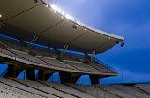 Empty Stadium With Lights On