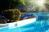 Pool with blue water. Dominican republic