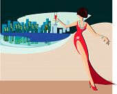 image of debauchery  - illustration of stranger girl in red evening dress - JPG