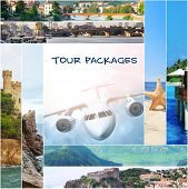 Tour packages concept. Collage for travel theme poster