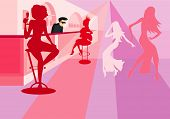 foto of debauchery  - vector image of dancing girls in bar - JPG