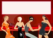 foto of debauchery  - vector image of people in bar - JPG