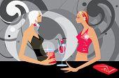 image of two talking women in bar