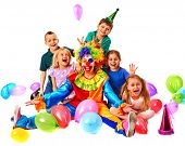 Birthday child clown playing with children. Kid holiday cakes celebratory in hands of events organiz poster