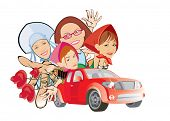 cartoon vector image of four girls in red car. isolated on white. good use for party cards and poste