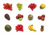 large page of assortment  fruits on white background