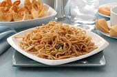 stock photo of lo mein  - A chinese dinner of chicken lo mein - JPG