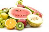 slice fruits on white background