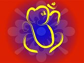 Hindu symbol OM and Ganesha on flower background