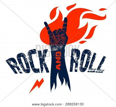 poster of Rock Hand Sign On Fire, Hot Music Rock And Roll Gesture In Flames, Hard Rock Festival Concert Or Clu