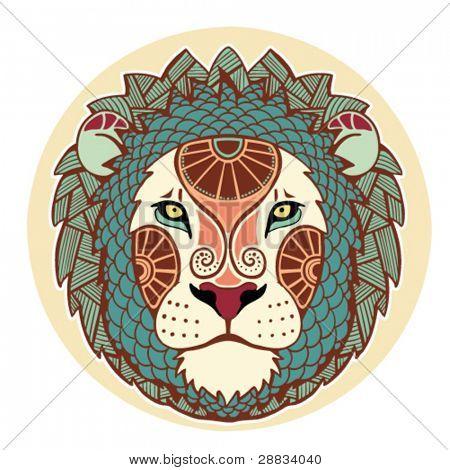 Постер, плакат: Знаки Зодиака Лев окрашенная , холст на подрамнике
