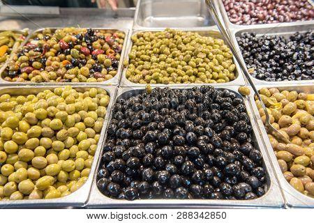 Olives Background In Oriental Market
