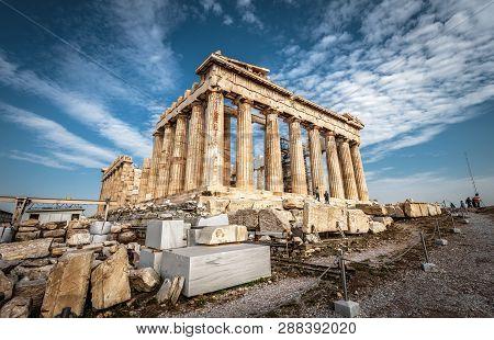 poster of Parthenon On The Acropolis Of Athens, Greece. Ancient Greek Parthenon Is A Top Landmark Of Athens. P
