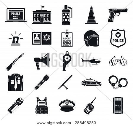 Police Arsenal Icons Set Simple