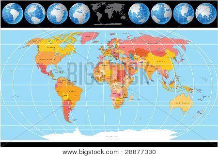 Постер, плакат: Высокая подробная карта мира вектор с глобус включают все страны с капителями , холст на подрамнике