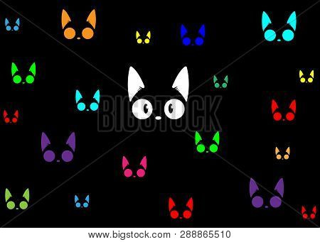 poster of Black Cats In The Dark Background. The Vector Logo Cat For Tattoo Or T-shirt Design Or Outwear. Cute