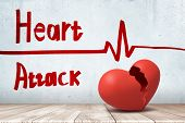 3d Rendering Of Red Broken Heart With A Heart Rhythm Cardiogram And Heart Attack Sign On White Wall  poster