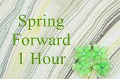 Spring Forward 1 Hour Dst Message Green Flowers On Textured Watercolor Paper poster