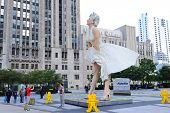 CHICAGO, IL - OCT 1: Giant 26 foot tall Marilyn Monroe Statue by Seward Johnson is unveiled on July