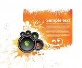 Vector orange musical banner for accommodation of the text