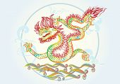creative  Chinese new year 2012 beautiful water dragon symbol, colorful outlines