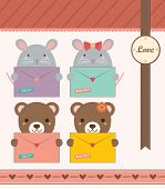 Lovely Mouse and Bear Holding Love Envelope. Valentine Notepad Design.