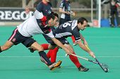 BARCELONA - JAN, 6: Gabriel Dabanch(L) of RC Polo vies with Sebastien Techy(R) of KHC Leuven during