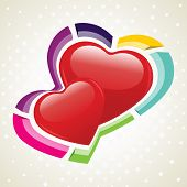 Vector illustration of two heart shapes on seamless dotted background for Valentines Day and other occasions.