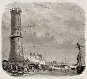 Building Heaux de Brehat lighthouse old illustration, France. By unidentified author, published on Magasin Pittoresque, Paris, 1845