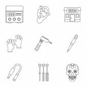 Tattoo Salon Equipment Icon Set. Outline Set Of 9 Tattoo Salon Equipment Icons For Web Isolated On W poster