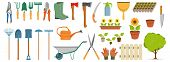 Set Of Different Gardening Tools, Spring Garden Items, Various Tools For Gardening, Garden Elements, poster