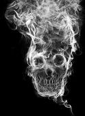 skull of the smoke. Of smoke formed skull dead, as a symbol of the dangers of smoking to health and