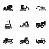 Heavy Vehicle Icon Set. Simple Set Of 9 Heavy Vehicle Icons For Web Isolated On White Background poster