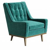 Classic Armchair In Turquoise Velvet With Brass Legs Isolated On White Background.digital Illustrati poster