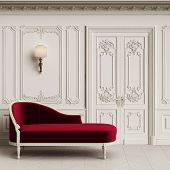 Classic Chaise Longue In Classic Interior With Copy Space.walls With Mouldings,ornated Cornice. Floo poster