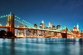 stock photo of nightfall  - New york city skyline - JPG