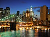 stock photo of nightfall  - New york city Brooklyn bridge  - JPG