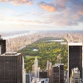 New york manhattan at sunset - central park view