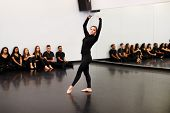 Female Ballet Student At Performing Arts School Performs For Class And Teacher In Dance Studio poster