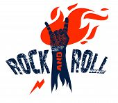 Rock Hand Sign On Fire, Hot Music Rock And Roll Gesture In Flames, Hard Rock Festival Concert Or Clu t-shirt