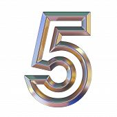 Chrome Font With Colorful Reflections Number 5 Five 3d Render Illustration Isolated On White Backgro poster