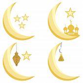 Illustration On Theme Big Set Different Types Moon, Star To Celebration Holiday Ramadan. Moon Patter poster