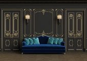 Classic Sofa In Classic Interior With Copy Space.walls With Mouldings,lamps,ornated Cornice. Floor P poster
