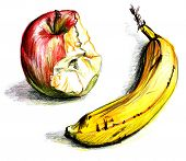 apple and banana drawing