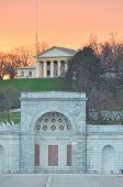 Washington DC, Arlington Cemetery and Arlington House in sunset - United States